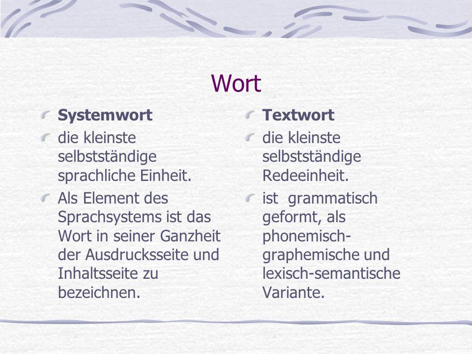 Wort Systemwort die kleinste selbstständige sprachliche Einheit. Als Element des Sprachsystems ist das Wort in seiner Ganzheit der Ausdrucksseite und