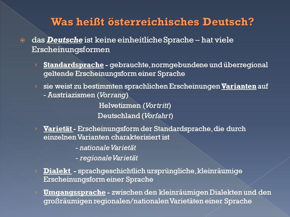  das Deutsche ist keine einheitliche Sprache – hat viele Erscheinungsformen › Standardsprache - gebrauchte, normgebundene und überregional geltende Erscheinungsform einer Sprache › sie weist zu bestimmten sprachlichen Erscheinungen Varianten auf - Austriazismen (Vorrang) Helvetizmen (Vortritt) Deutschland (Vorfahrt) › Varietät - Erscheinungsform der Standardsprache, die durch einzelnen Varianten charakterisiert ist - nationale Varietät - regionale Varietät › Dialekt - sprachgeschichtlich ursprüngliche, kleinräumige Erscheinungsform einer Sprache › Umgangssprache - zwischen den kleinräumigen Dialekten und den großräumigen regionalen/nationalen Varietäten einer Sprache
