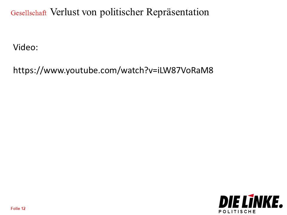 POLITISCHE BILDUNG Folie 12 Gesellschaft Verlust von politischer Repräsentation Video: https://www.youtube.com/watch v=iLW87VoRaM8