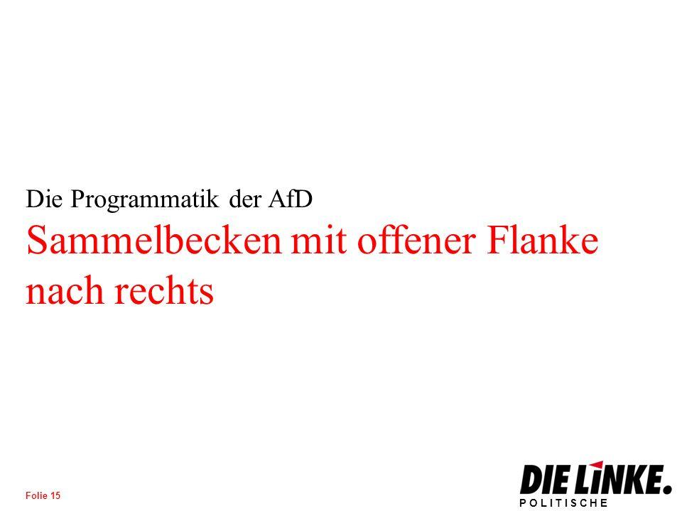 POLITISCHE BILDUNG Folie 15 Die Programmatik der AfD Sammelbecken mit offener Flanke nach rechts