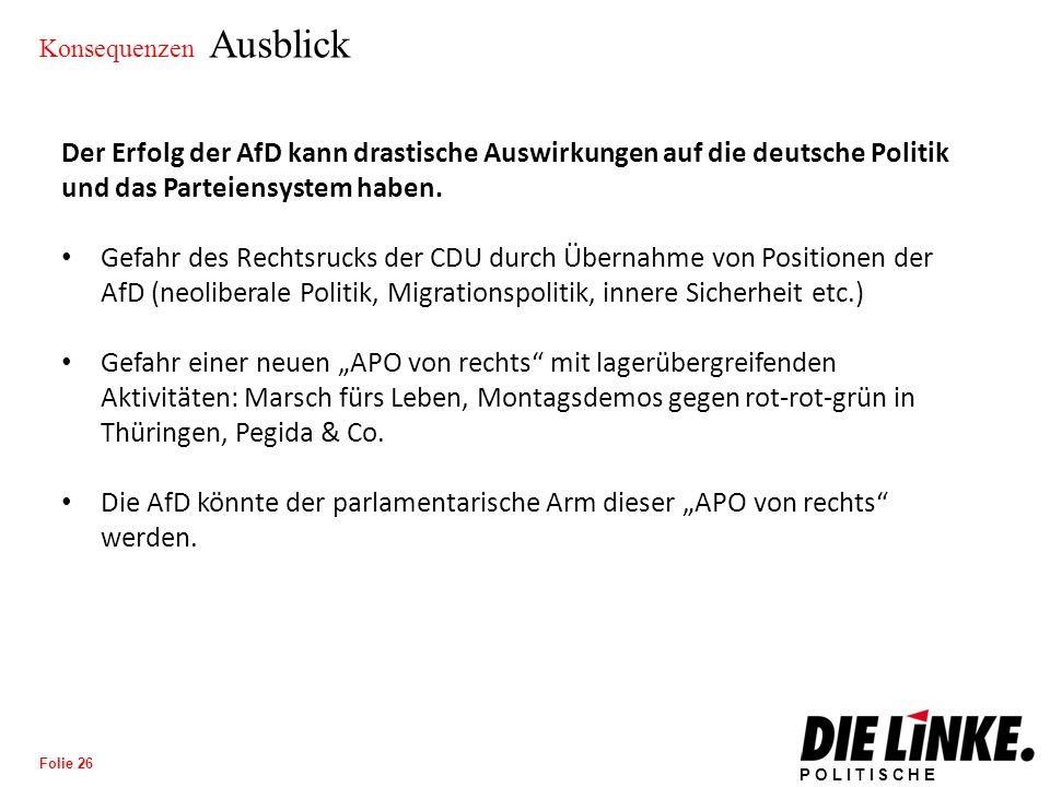 POLITISCHE BILDUNG Folie 26 Konsequenzen Ausblick Der Erfolg der AfD kann drastische Auswirkungen auf die deutsche Politik und das Parteiensystem haben.