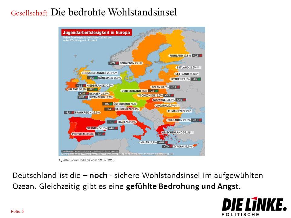 POLITISCHE BILDUNG Folie 5 Gesellschaft Die bedrohte Wohlstandsinsel Deutschland ist die – noch - sichere Wohlstandsinsel im aufgewühlten Ozean.