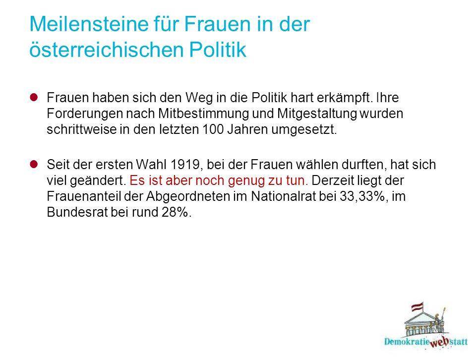 Meilensteine für Frauen in der österreichischen Politik Frauen haben sich den Weg in die Politik hart erkämpft.