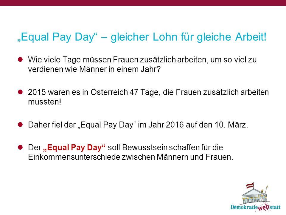 """""""Equal Pay Day – gleicher Lohn für gleiche Arbeit."""