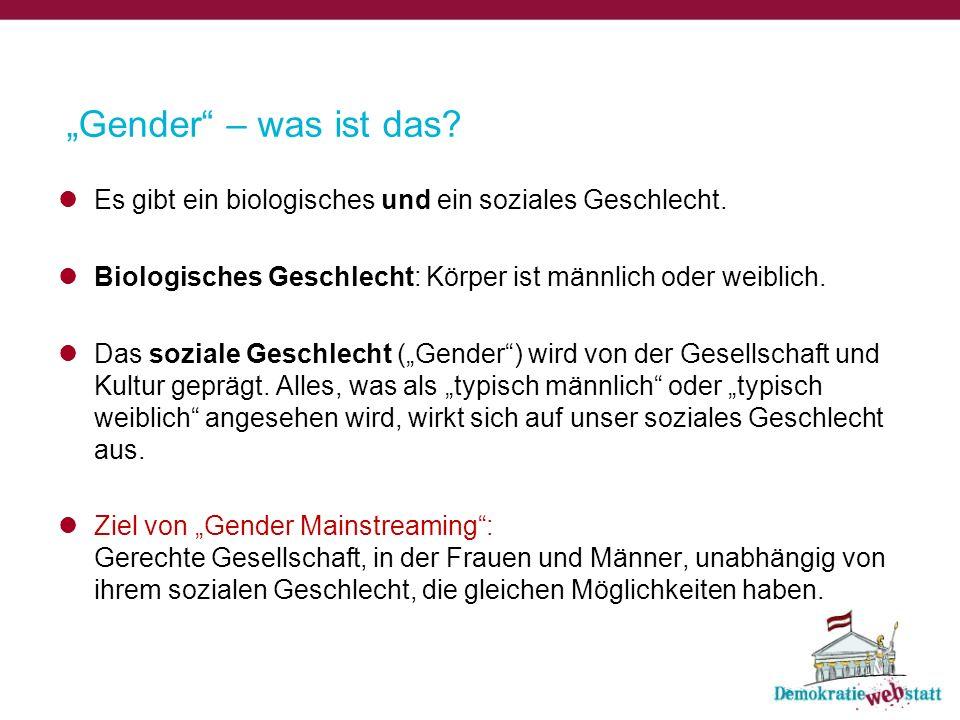 """""""Gender – was ist das. Es gibt ein biologisches und ein soziales Geschlecht."""