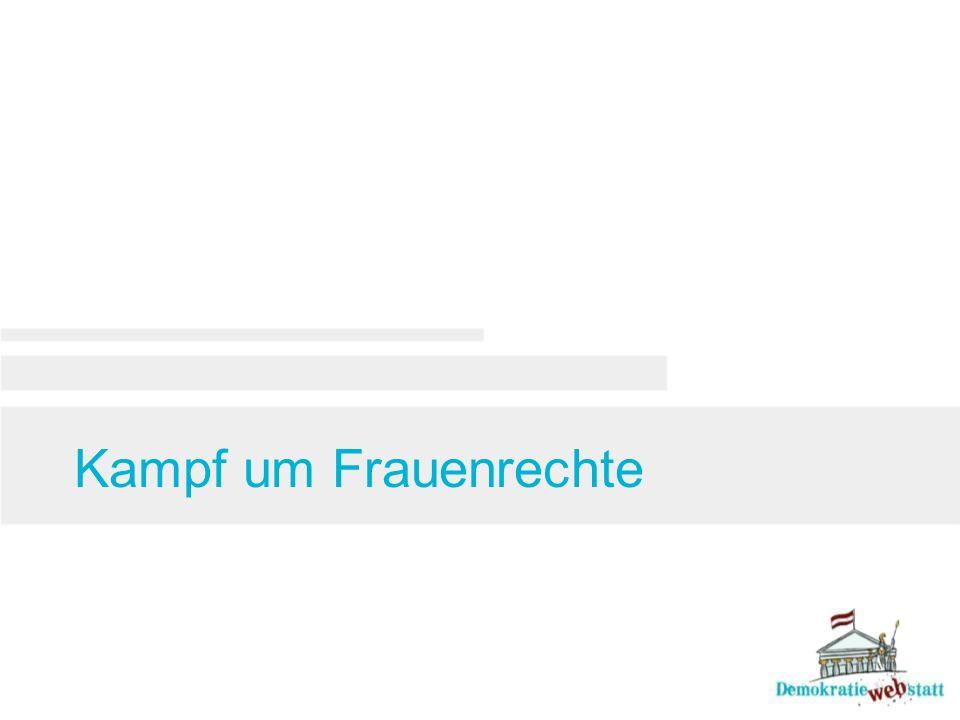 Frauen in der österreichischen Politik 1990 Johanna Dohnal wird Ministerin im neuen Frauenministerium 1994 Madeleine Petrovic (Die Grünen) und Heide Schmidt (Liberales Forum) treten in Spitzenpositionen zur NR- Wahl an 1996 Waltraud Klasnic (ÖVP) ist die erste Landeshauptfrau Österreichs (Steiermark) 1997 Frauenvolksbegehren 2000 Susanne Riess-Passer (FPÖ) erste Vizekanzlerin Österreichs 2002 Hilde Zach ist die erste Bürger- meisterin einer Landeshauptstadt (Innsbruck) 2006 Barbara Prammer wird als erste Frau Nationalratspräsidentin 2014 Doris Bures übernimmt das Amt der Präsidentin des Nationalrates 1990 1995 2000 2005 2010 2015
