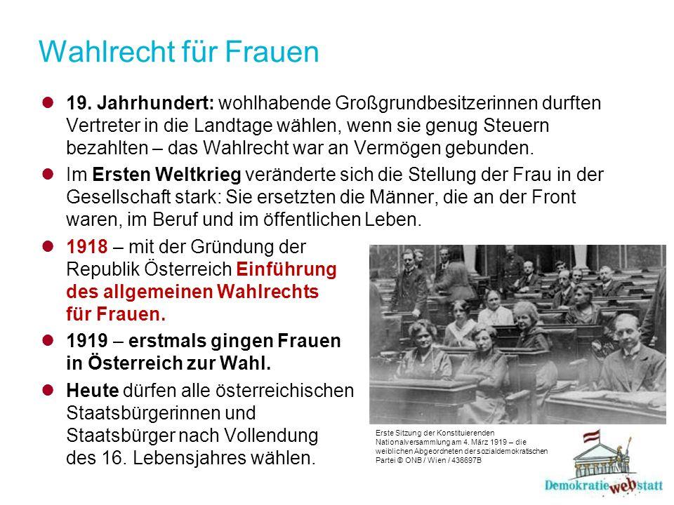Wahlrecht für Frauen 19.