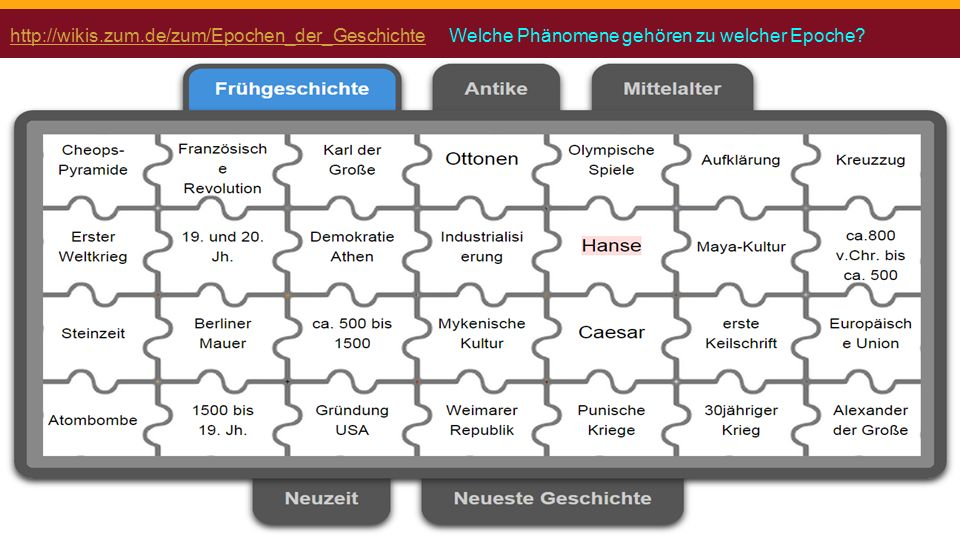http://wikis.zum.de/zum/Epochen_der_Geschichtehttp://wikis.zum.de/zum/Epochen_der_Geschichte Welche Phänomene gehören zu welcher Epoche?