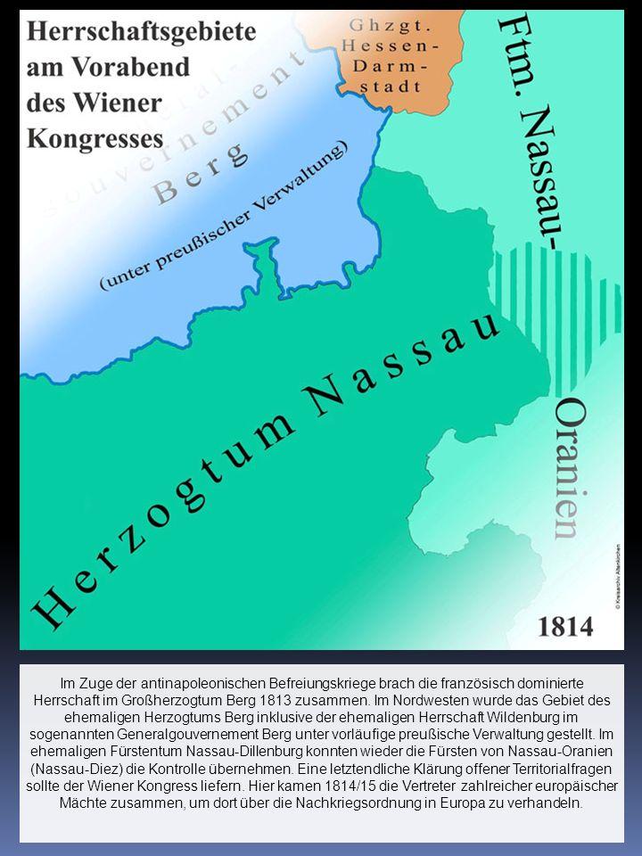 Im Zuge der antinapoleonischen Befreiungskriege brach die französisch dominierte Herrschaft im Großherzogtum Berg 1813 zusammen. Im Nordwesten wurde d