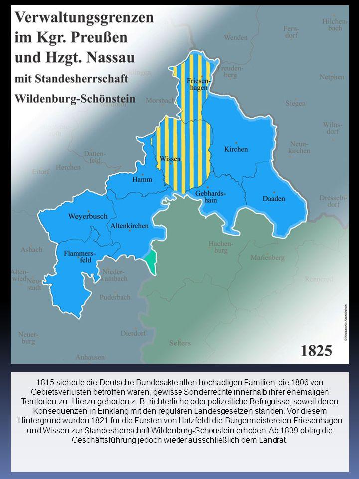 1815 sicherte die Deutsche Bundesakte allen hochadligen Familien, die 1806 von Gebietsverlusten betroffen waren, gewisse Sonderrechte innerhalb ihrer