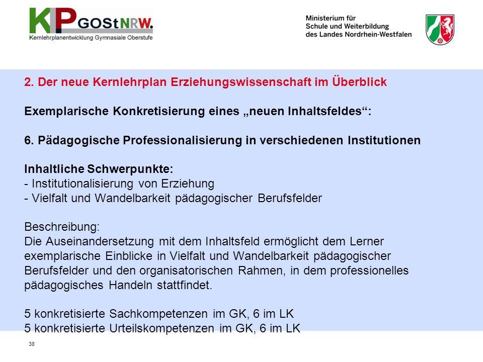 """2. Der neue Kernlehrplan Erziehungswissenschaft im Überblick Exemplarische Konkretisierung eines """"neuen Inhaltsfeldes"""": 6. Pädagogische Professionalis"""