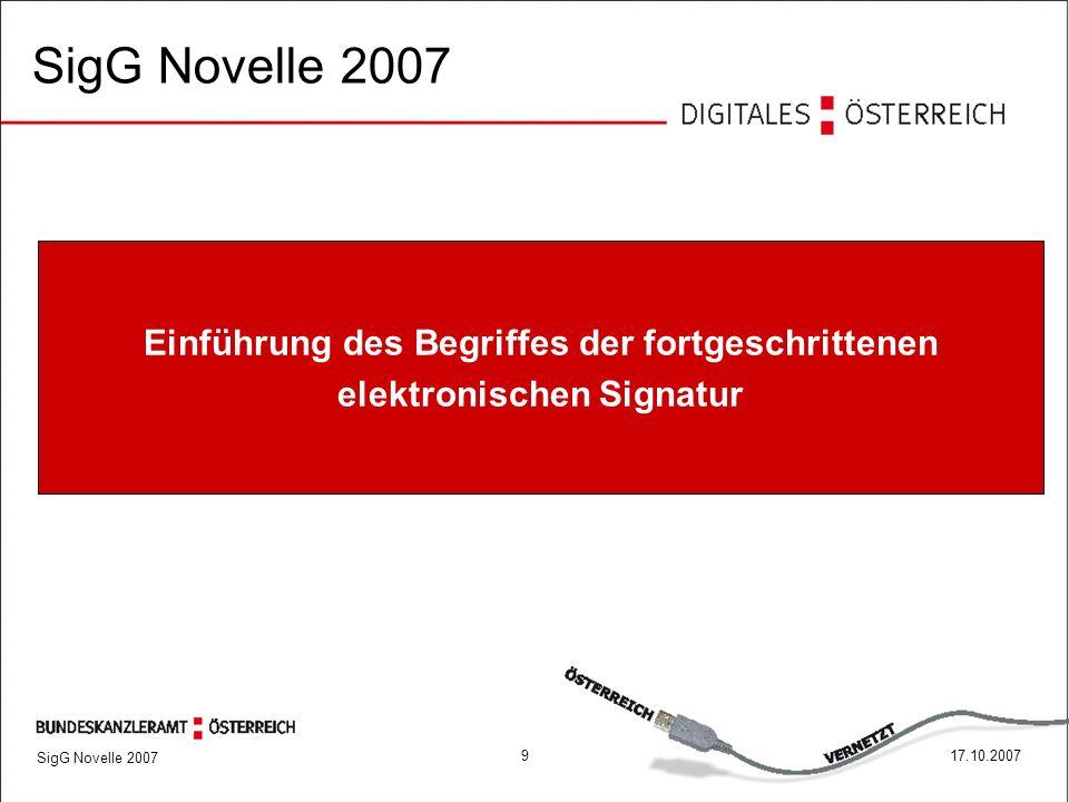 SigG Novelle 2007 917.10.2007 Einführung des Begriffes der fortgeschrittenen elektronischen Signatur SigG Novelle 2007