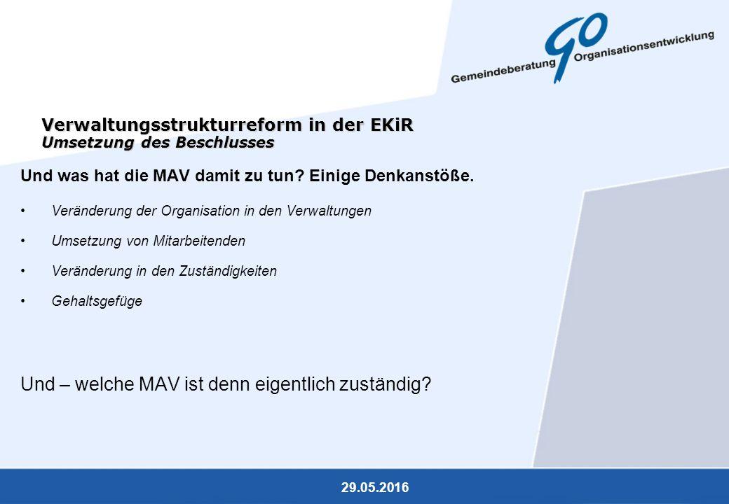 29.05.2016 Verwaltungsstrukturreform in der EKiR Umsetzung des Beschlusses Und was hat die MAV damit zu tun? Einige Denkanstöße. Veränderung der Organ