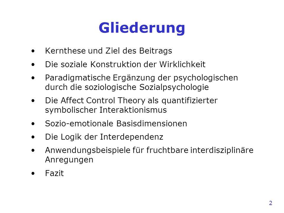 2 Gliederung Kernthese und Ziel des Beitrags Die soziale Konstruktion der Wirklichkeit Paradigmatische Ergänzung der psychologischen durch die soziolo