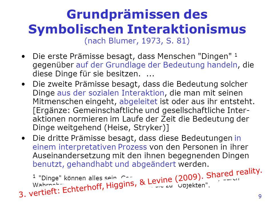 9 Grundprämissen des Symbolischen Interaktionismus (nach Blumer, 1973, S. 81) Die erste Prämisse besagt, dass Menschen
