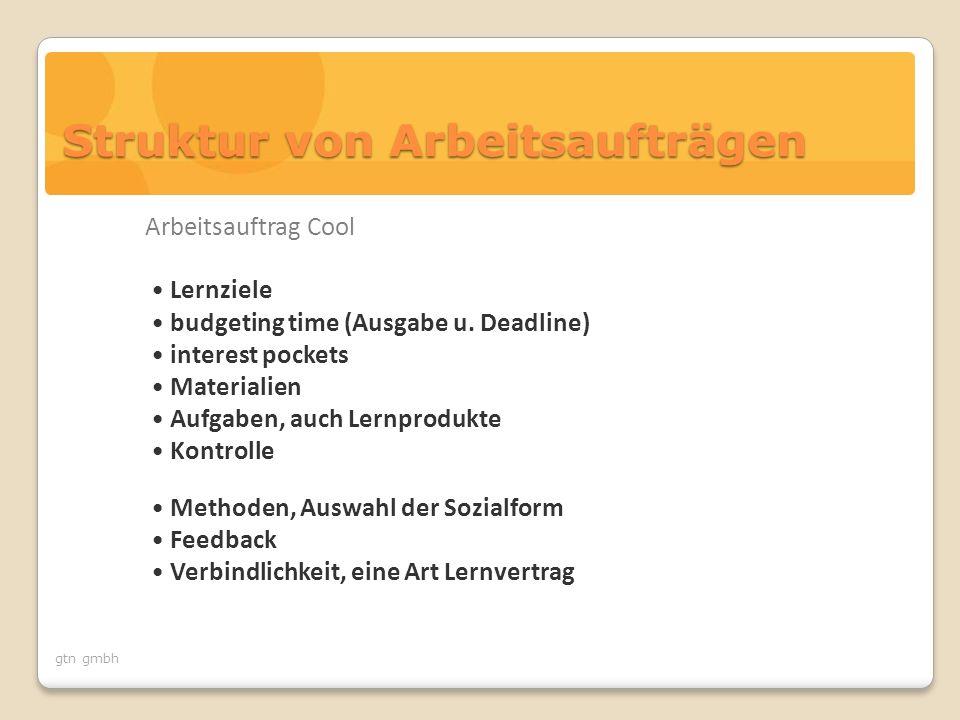gtn gmbh Struktur von Arbeitsaufträgen Arbeitsauftrag Cool Lernziele budgeting time (Ausgabe u.
