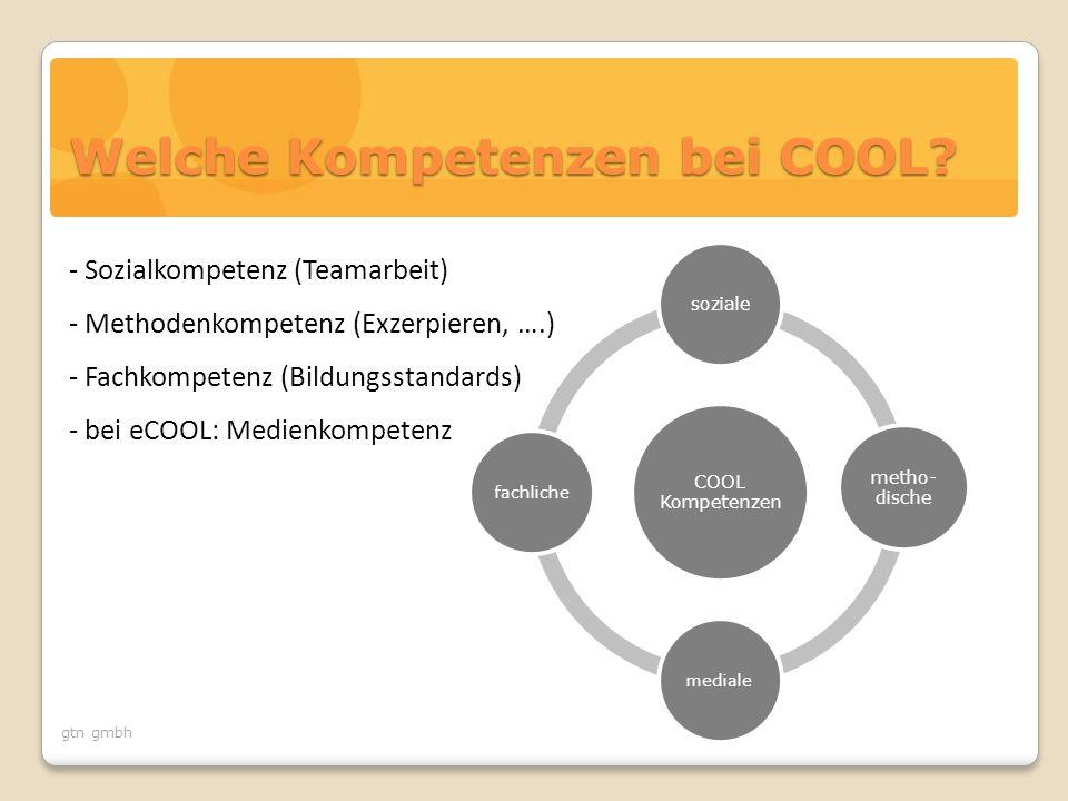 gtn gmbh Welche Kompetenzen bei COOL? COOL Kompetenzen soziale metho- dische medialefachliche - Sozialkompetenz (Teamarbeit) - Methodenkompetenz (Exze