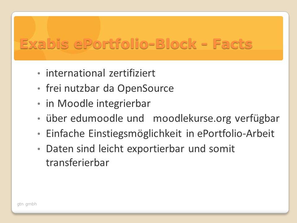 gtn gmbh Exabis ePortfolio-Block - Facts international zertifiziert frei nutzbar da OpenSource in Moodle integrierbar über edumoodle und moodlekurse.org verfügbar Einfache Einstiegsmöglichkeit in ePortfolio-Arbeit Daten sind leicht exportierbar und somit transferierbar
