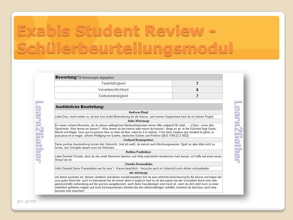 gtn gmbh Exabis Student Review - Schülerbeurteilungsmodul