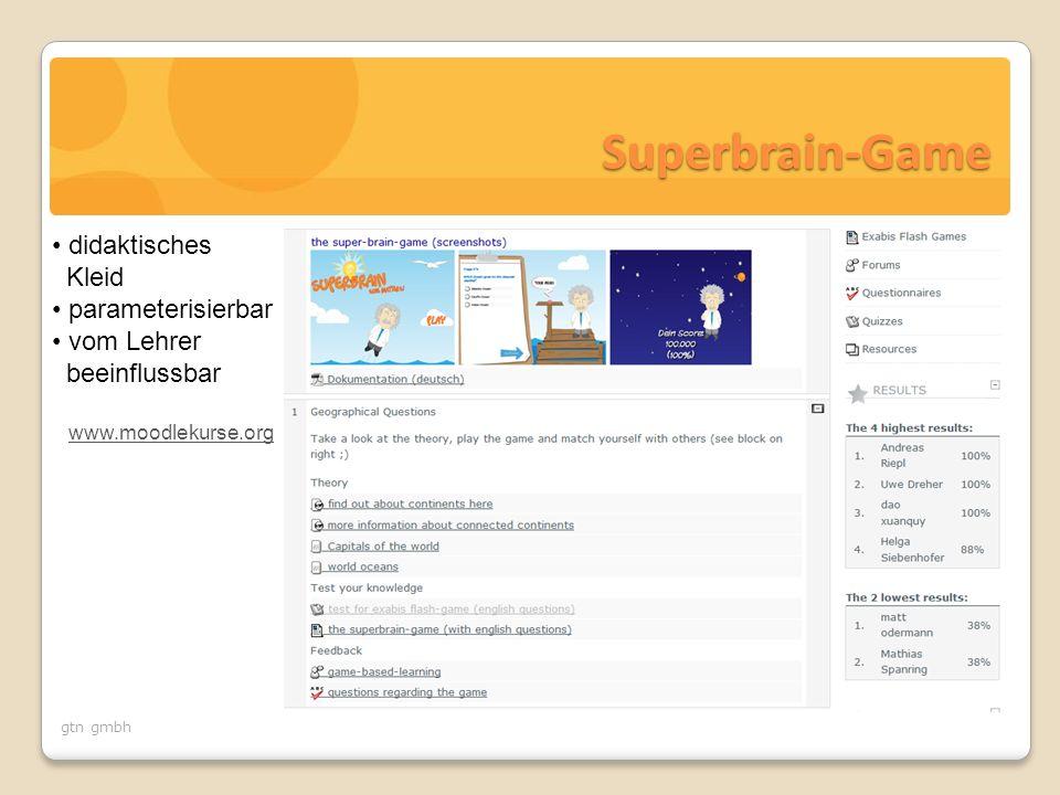 Superbrain-Game didaktisches Kleid parameterisierbar vom Lehrer beeinflussbar www.moodlekurse.org