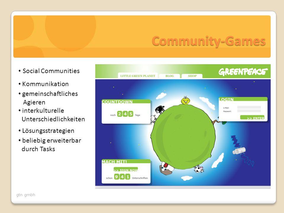 gtn gmbh Community-Games Social Communities Kommunikation gemeinschaftliches Agieren interkulturelle Unterschiedlichkeiten Lösungsstrategien beliebig