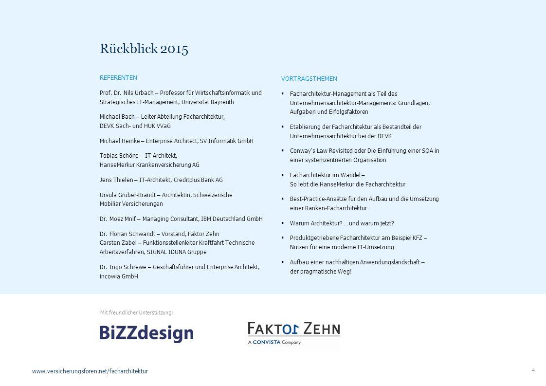 4 www.versicherungsforen.net/facharchitektur REFERENTEN Prof. Dr. Nils Urbach – Professor für Wirtschaftsinformatik und Strategisches IT-Management, U