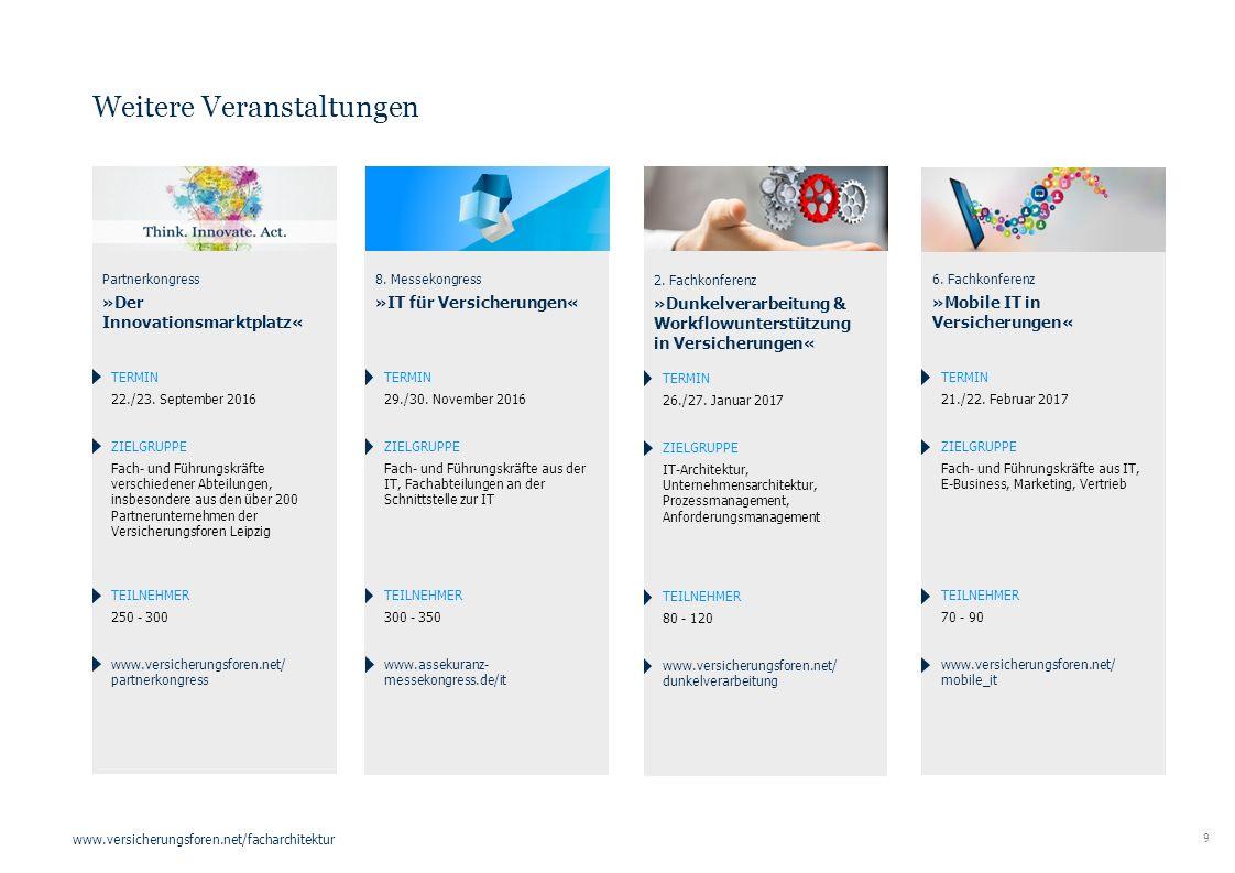 9 www.versicherungsforen.net/facharchitektur Weitere Veranstaltungen 6. Fachkonferenz »Mobile IT in Versicherungen« TERMIN 21./22. Februar 2017 ZIELGR