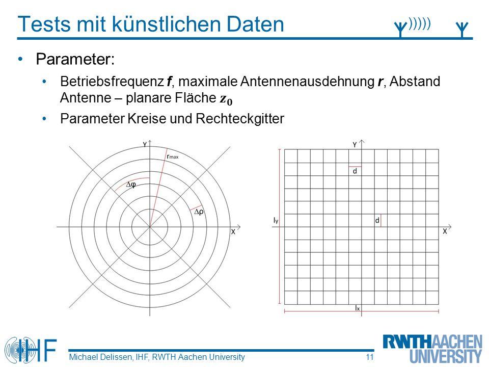 Tests mit künstlichen Daten Michael Delissen, IHF, RWTH Aachen University ))))) 11