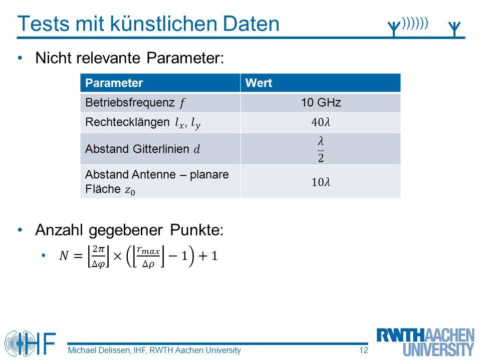 Tests mit künstlichen Daten Michael Delissen, IHF, RWTH Aachen University )))))) 12 ParameterWert 10 GHz