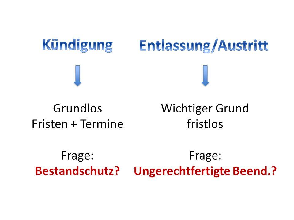 Grundlos Fristen + Termine Frage: Bestandschutz.
