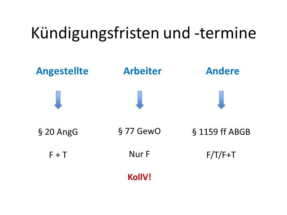Kündigungsfristen und -termine AngestellteArbeiterAndere § 20 AngG F + T § 77 GewO Nur F KollV.