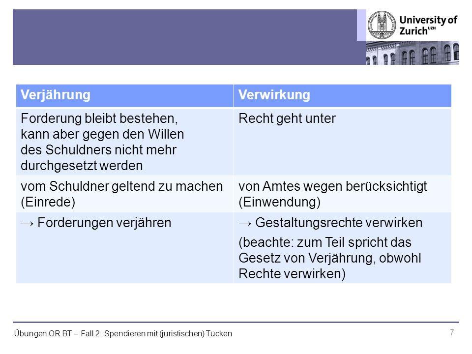 """Übungen OR BT – Fall 2: Spendieren mit (juristischen) Tücken 8 EinredeEinwendung Erfüllung eines Rechts wird verweigert (""""ja, aber ) Bestand des vom Gegner behaup- teten Rechts wird bestritten (""""nein ) z.B."""