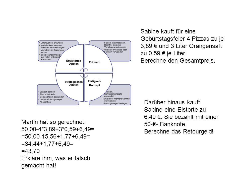 Sabine kauft für eine Geburtstagsfeier 4 Pizzas zu je 3,89 € und 3 Liter Orangensaft zu 0,59 € je Liter.