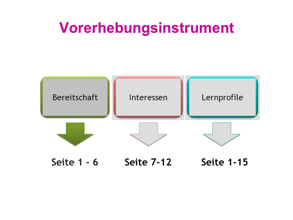 Vorerhebungsinstrument BereitschaftInteressenLernprofile Seite 1 - 6Seite 7-12Seite 1-15
