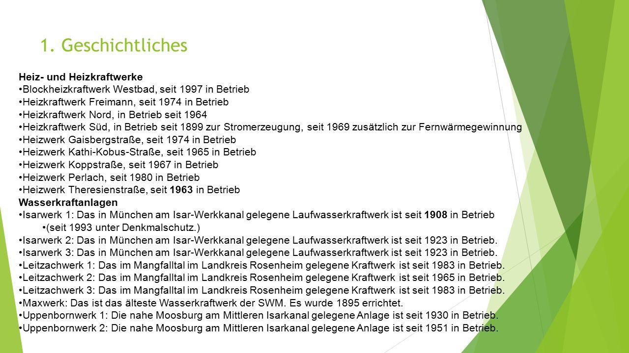 1. Geschichtliches Heiz- und Heizkraftwerke Blockheizkraftwerk Westbad, seit 1997 in Betrieb Heizkraftwerk Freimann, seit 1974 in Betrieb Heizkraftwer