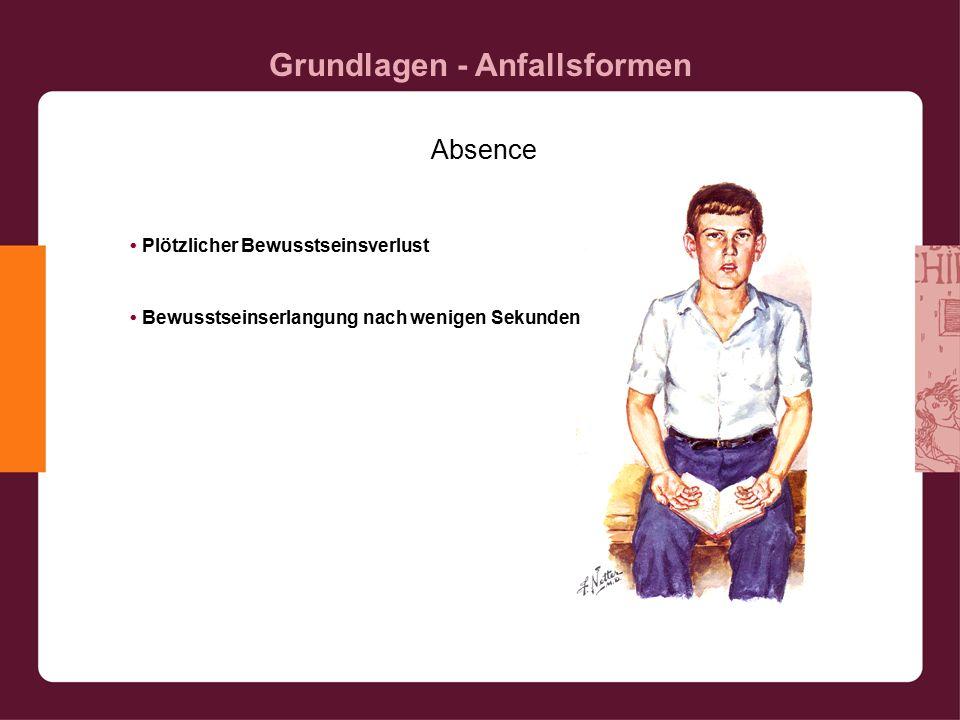 Grundlagen - Anfallsformen Absence Plötzlicher Bewusstseinsverlust Bewusstseinserlangung nach wenigen Sekunden