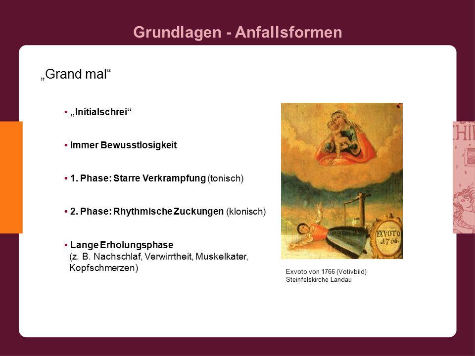 """Grundlagen - Anfallsformen """"Grand mal """"Initialschrei Immer Bewusstlosigkeit 1."""