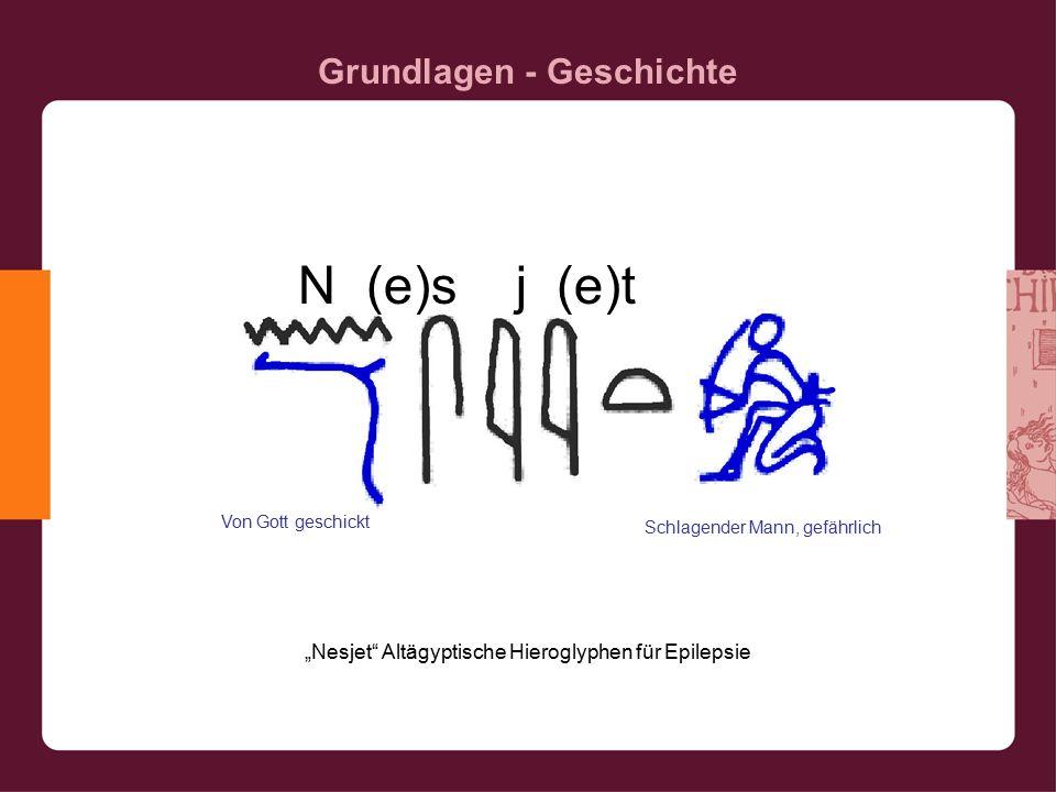 """Grundlagen - Geschichte """"Nesjet Altägyptische Hieroglyphen für Epilepsie Von Gott geschickt Schlagender Mann, gefährlich N (e)s j (e)t"""