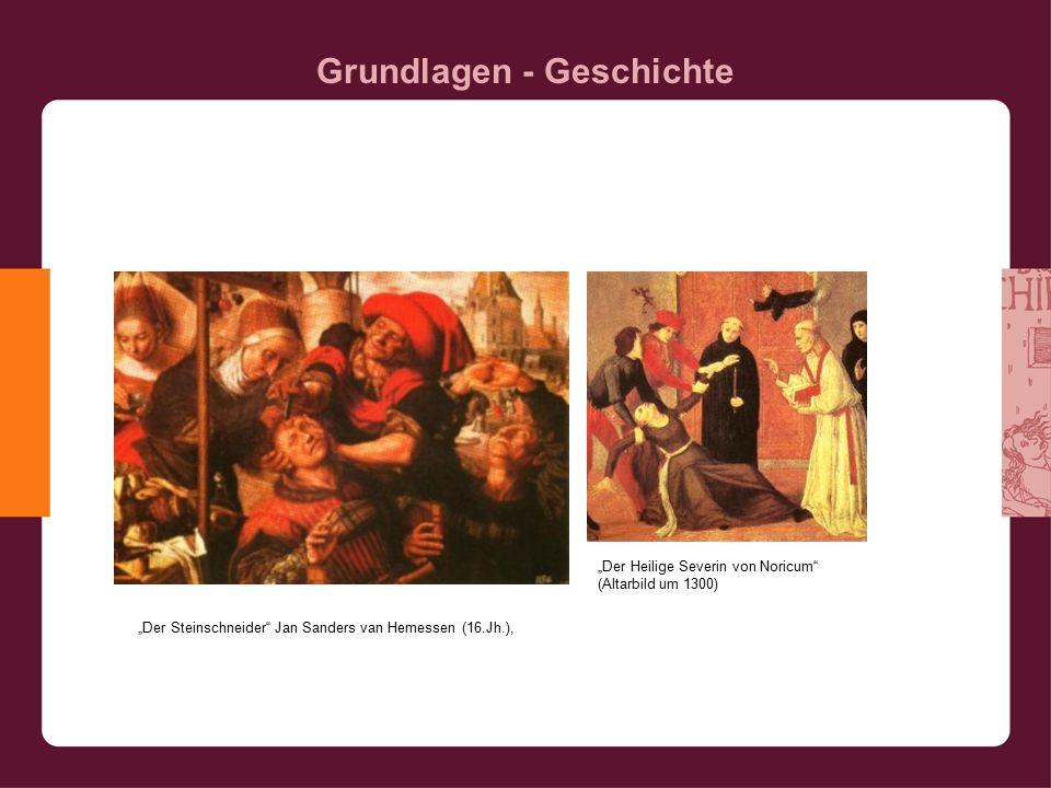 """Grundlagen - Geschichte """"Der Steinschneider Jan Sanders van Hemessen (16.Jh.), """"Der Heilige Severin von Noricum (Altarbild um 1300)"""