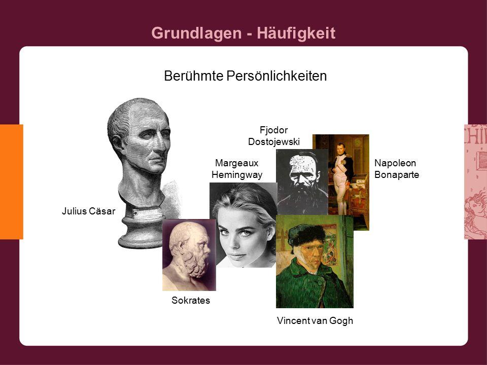 Grundlagen - Häufigkeit Berühmte Persönlichkeiten Julius Cäsar Sokrates Margeaux Hemingway Fjodor Dostojewski Napoleon Bonaparte Vincent van Gogh