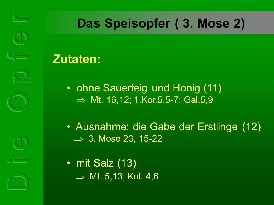 Das Speisopfer ( 3. Mose 2) ohne Sauerteig und Honig (11)  Mt. 16,12; 1.Kor.5,5-7; Gal.5,9 Zutaten: Ausnahme: die Gabe der Erstlinge (12)  3. Mose 2