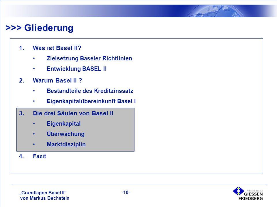 """""""Grundlagen Basel II von Markus Bechstein -10- >>> Gliederung 1.Was ist Basel II."""