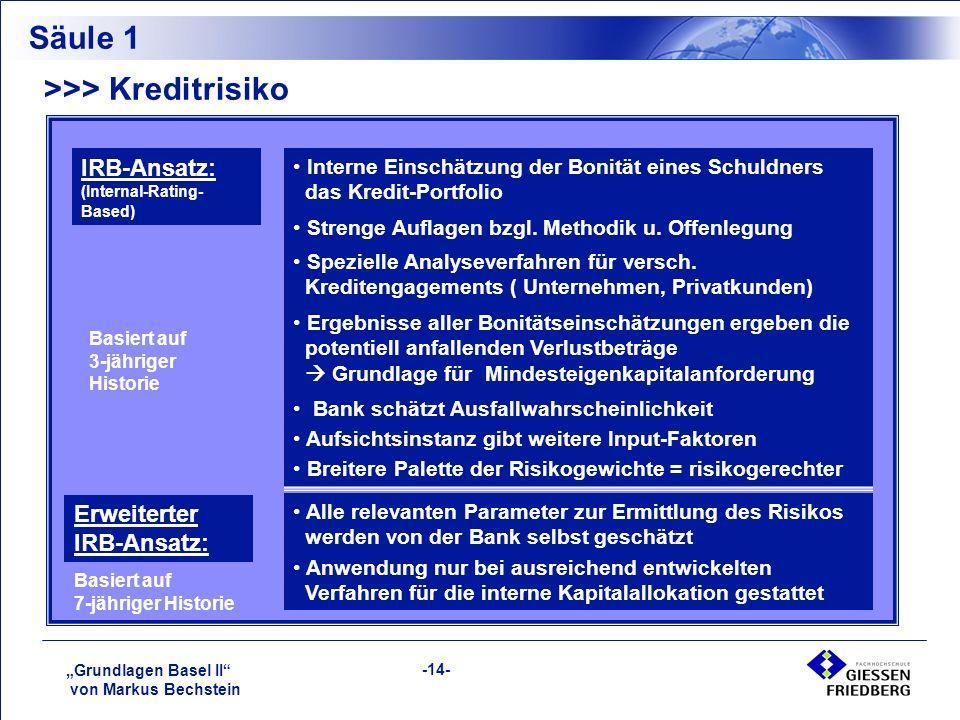 """""""Grundlagen Basel II von Markus Bechstein -14- >>> Kreditrisiko Säule 1 IRB-Ansatz: (Internal-Rating- Based) Interne Einschätzung der Bonität eines Schuldners für das Kredit-Portfolio Strenge Auflagen bzgl."""