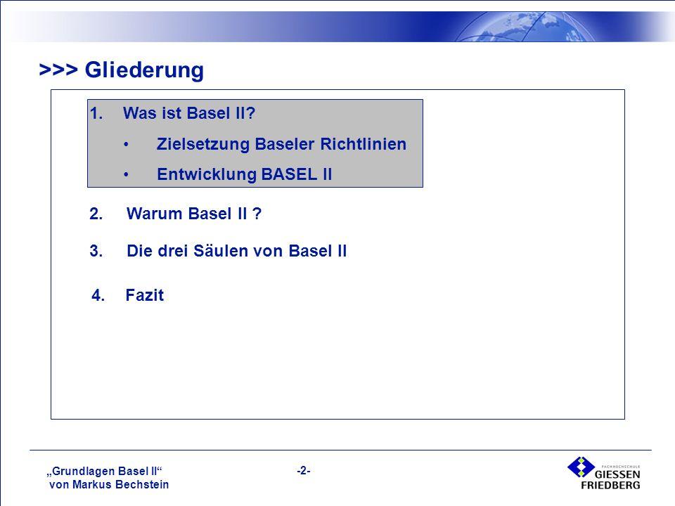 """""""Grundlagen Basel II von Markus Bechstein -2- >>> Gliederung 1.Was ist Basel II."""