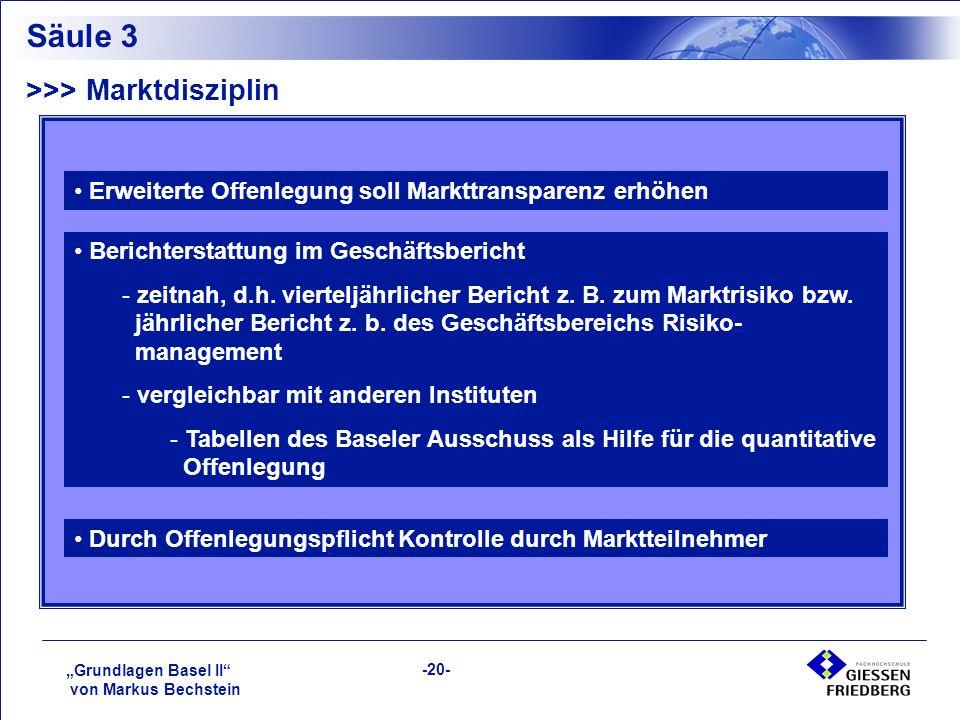 """""""Grundlagen Basel II von Markus Bechstein -20- Säule 3 >>> Marktdisziplin Erweiterte Offenlegung soll Markttransparenz erhöhen Berichterstattung im Geschäftsbericht - zeitnah, d.h."""