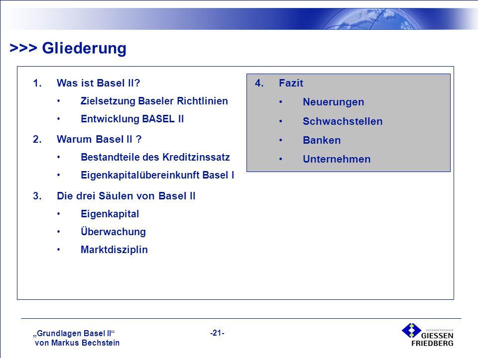 """""""Grundlagen Basel II von Markus Bechstein -21- >>> Gliederung 1.Was ist Basel II."""