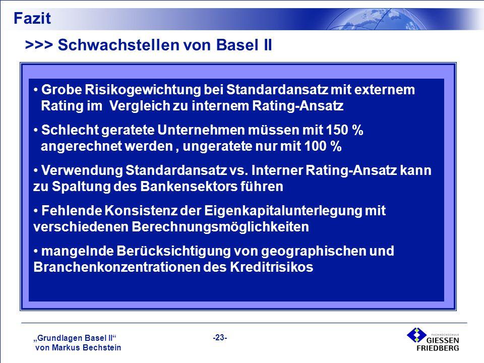 """""""Grundlagen Basel II von Markus Bechstein -23- Fazit >>> Schwachstellen von Basel II Grobe Risikogewichtung bei Standardansatz mit externem Rating im Vergleich zu internem Rating-Ansatz Schlecht geratete Unternehmen müssen mit 150 % angerechnet werden, ungeratete nur mit 100 % Verwendung Standardansatz vs."""