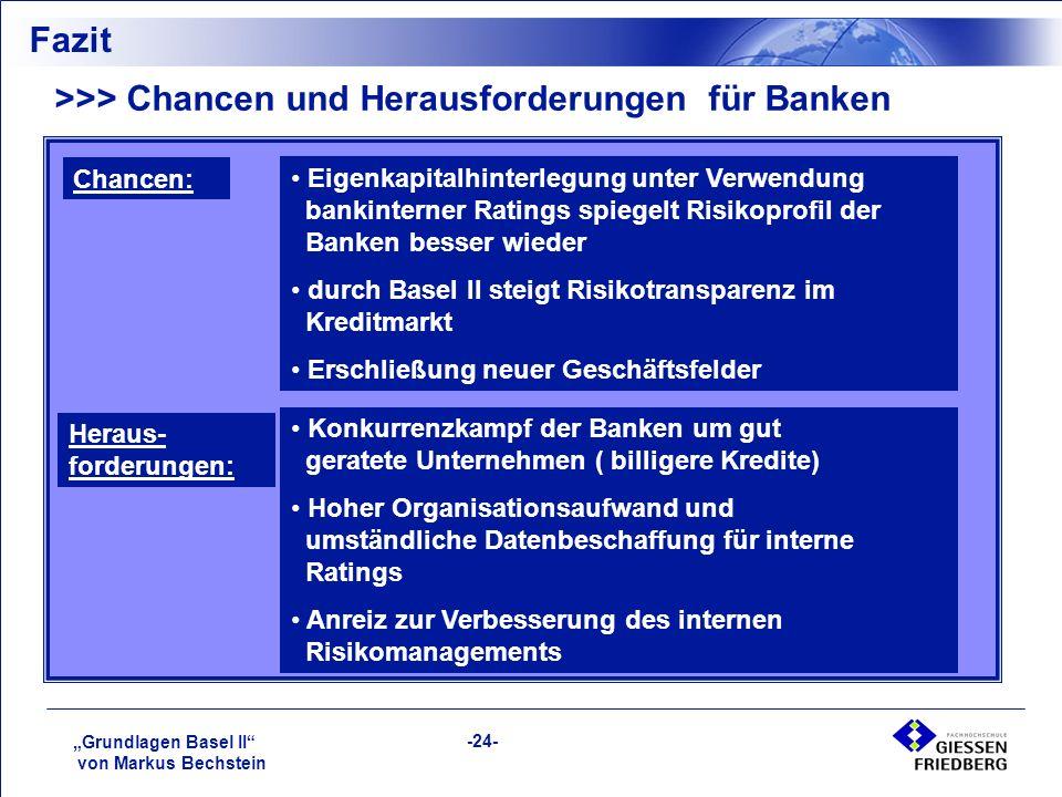 """""""Grundlagen Basel II von Markus Bechstein -24- Fazit >>> Chancen und Herausforderungen für Banken Eigenkapitalhinterlegung unter Verwendung bankinterner Ratings spiegelt Risikoprofil der Banken besser wieder durch Basel II steigt Risikotransparenz im Kreditmarkt Erschließung neuer Geschäftsfelder Heraus- forderungen: Chancen: Konkurrenzkampf der Banken um gut geratete Unternehmen ( billigere Kredite) Hoher Organisationsaufwand und umständliche Datenbeschaffung für interne Ratings Anreiz zur Verbesserung des internen Risikomanagements"""