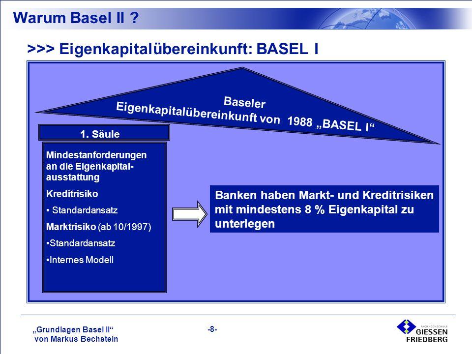 """""""Grundlagen Basel II von Markus Bechstein -8- >>> Eigenkapitalübereinkunft: BASEL I Baseler Eigenkapitalübereinkunft von 1988 """"BASEL I 1."""