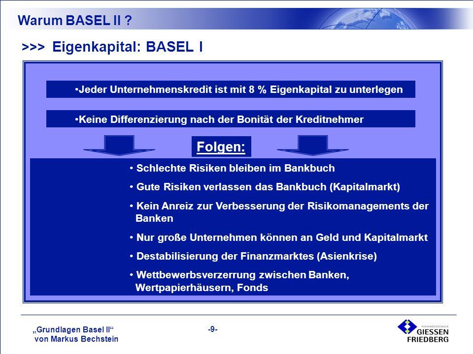 """""""Grundlagen Basel II von Markus Bechstein -9- >>> Eigenkapital: BASEL I Warum BASEL II ."""